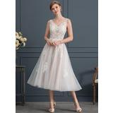 A-Line/Princess V-neck Tea-Length Tulle Wedding Dress (002171936)