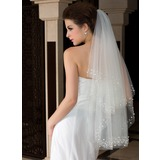 Two-tier Cut Edge Fingertip Bridal Veils With Beading/Faux Pearl (006036608)