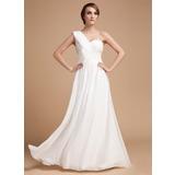 A-Line/Princess One-Shoulder Floor-Length Chiffon Holiday Dress With Ruffle Beading (020014487)