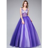 Ball-Gown V-neck Floor-Length Tulle Quinceanera Dress With Beading (018044972)