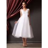 A-Line/Princess V-neck Tea-Length Organza Tulle Wedding Dress With Lace Beading Flower(s) Sequins (002014240)