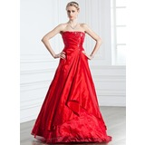 A-Line/Princess Strapless Floor-Length Taffeta Quinceanera Dress With Ruffle Beading (021005238)