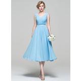 A-Line V-neck Tea-Length Chiffon Bridesmaid Dress With Ruffle (007074187)