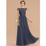 A-Line Scoop Neck Floor-Length Chiffon Lace Bridesmaid Dress (007176777)