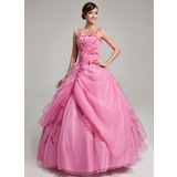 Ball-Gown Floor-Length Organza Quinceanera Dress With Ruffle Beading Appliques Lace (021017547)