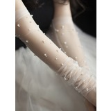 Tulle/Imitation Pearls Elbow Length Bridal Gloves (014203324)