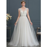 A-Line V-neck Court Train Tulle Wedding Dress With Beading Sequins (002171943)