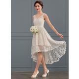 A-Line V-neck Asymmetrical Lace Wedding Dress (002127282)