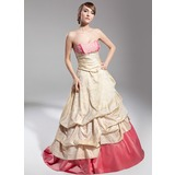 Ball-Gown Sweetheart Sweep Train Taffeta Quinceanera Dress With Ruffle Lace (021014698)