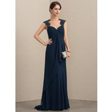 Empire Sweetheart Sweep Train Chiffon Lace Mother of the Bride Dress With Cascading Ruffles (008152144)