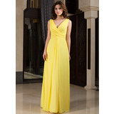 A-Line V-neck Floor-Length Chiffon Bridesmaid Dress With Ruffle (007027160)