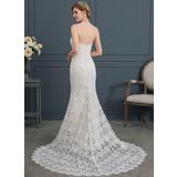 Trumpet/Mermaid Sweetheart Court Train Lace Wedding Dress (002171930)