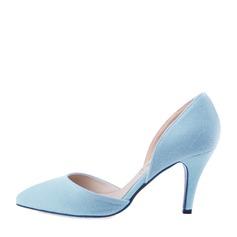 Women's Suede Stiletto Heel Pumps Closed Toe shoes (085059870)