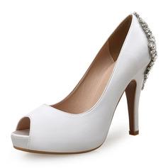 Женщины шелка как атласное Высокий тонкий каблук Открытый мыс Платформа На каблуках (047146115)