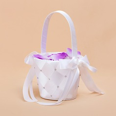 Nice Flower Basket in Satin With Ribbon & Faux Pearl (102018046)