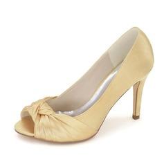 Женщины Атлас Высокий тонкий каблук Открытый мыс На каблуках с бантом (047093145)