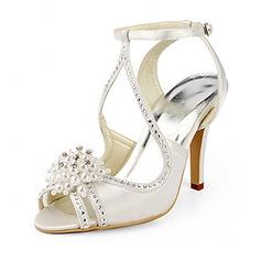 Women's Satin Stiletto Heel Sandals With Imitation Pearl (047020190)