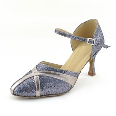 Women's Leatherette Sparkling Glitter Heels Pumps Ballroom With Ankle Strap Dance Shoes (053013152)
