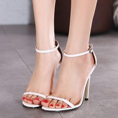 Женщины кожа Высокий тонкий каблук На каблуках Сандалии (047114479)