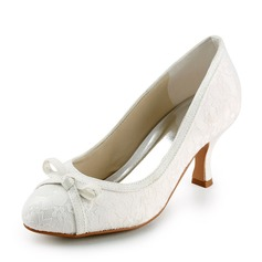 Women's Lace Satin Spool Heel Closed Toe Pumps With Bowknot Sparkling Glitter (047005740)