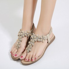 Женщины кожа Плоский каблук Вьетнамки Сандалии Beach Wedding Shoes с Имитация Перл горный хрусталь (047125783)