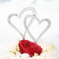 Двойные сердца Хром Свадьба Фигурки для торта (Набор из 2 штук) (119030810)