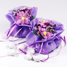 Pretty Floral Theme Favor Bags With Flowers/Ribbons (Set of 12) (050046720)