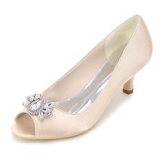 Женщины шелка как атласное Высокий тонкий каблук Открытый мыс На каблуках с Другие (047111544)