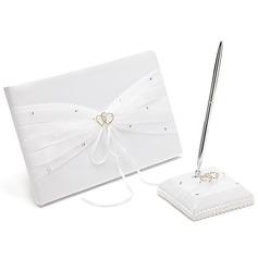 Beautiful Rhinestones/Bow/Double Hearts Guestbook & Pen Set (101018137)