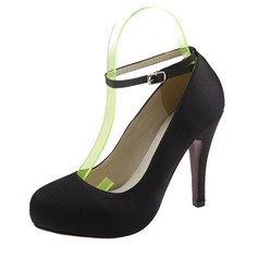 Женщины Атлас Высокий тонкий каблук Закрытый мыс Платформа На каблуках с пряжка (047059903)