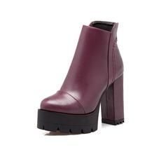 c5f3217916a Kvinner Lær Stor Hæl Platform Ankelstøvler sko (088097037)