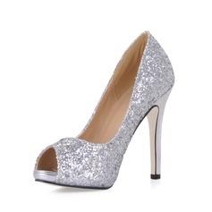 Women's Sparkling Glitter Stiletto Heel Peep Toe Platform Sandals With Sequin (047020488)