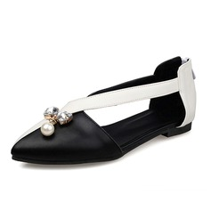 Women's Leatherette Flat Heel Flats Closed Toe With Rhinestone Imitation Pearl shoes (086086201)